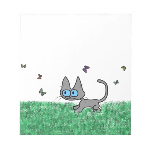 Kitty Cat Playing With Butterflies Note Pad
