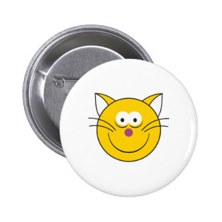 Kitty Cat  Smiley Face 2 Inch Round Button