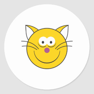 Kitty Cat  Smiley Face Round Stickers