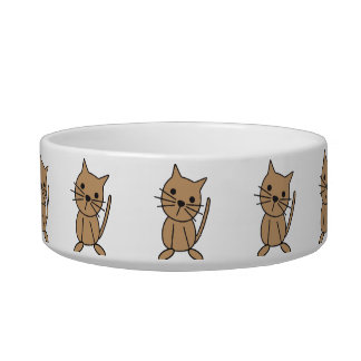 Kitty Cat Stick Figure Pet Dish Cat Bowls