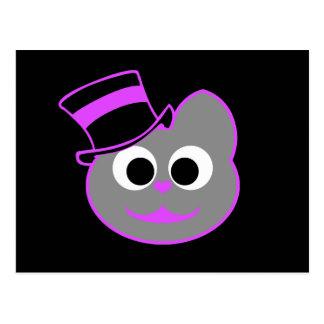 Kitty Cat Top Hat Purple - Gray Postcard