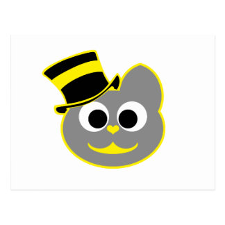Kitty Cat Top Hat Yellow - Gray Postcard