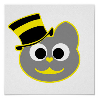 Kitty Cat Top Hat Yellow - Gray Poster