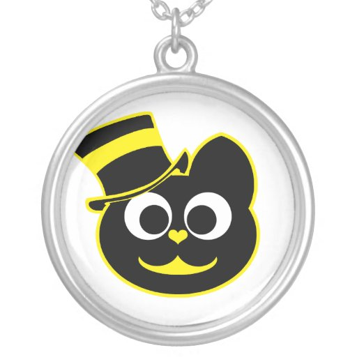 Kitty Cat Top Hat Yellow Round Pendant Necklace