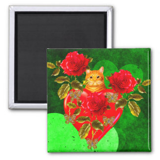 Kitty Cat Valentine 2 Inch Square Magnet