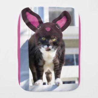 Kitty Cat Wearing Bunny Ears Burp Cloth