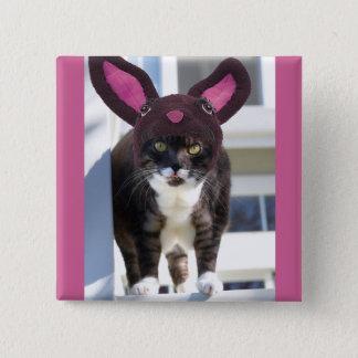 Kitty Cat Wearing Bunny Ears Button