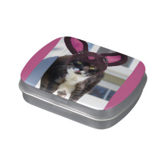 Kitty Cat Wearing Bunny Ears Candy Tins