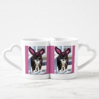 Kitty Cat Wearing Bunny Ears Coffee Mug Set
