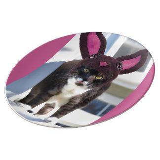 Kitty Cat Wearing Bunny Ears Dinner Plate