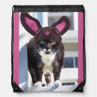 Kitty Cat Wearing Bunny Ears Drawstring Bag