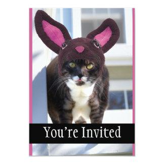 Kitty Cat Wearing Bunny Ears 5x7 Paper Invitation Card