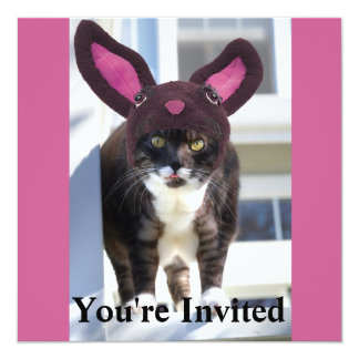 Kitty Cat Wearing Bunny Ears 5.25x5.25 Square Paper Invitation Card