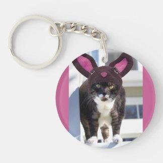 Kitty Cat Wearing Bunny Ears Keychain