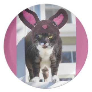Kitty Cat Wearing Bunny Ears Melamine Plate