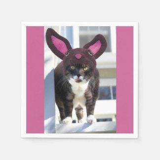 Kitty Cat Wearing Bunny Ears Paper Napkin