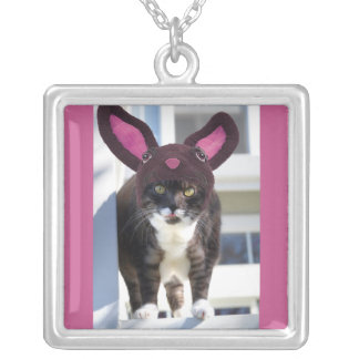 Kitty Cat Wearing Bunny Ears Silver Plated Necklace