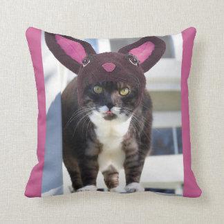Kitty Cat Wearing Bunny Ears Throw Pillow