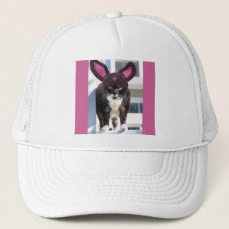 Kitty Cat Wearing Bunny Ears Trucker Hat