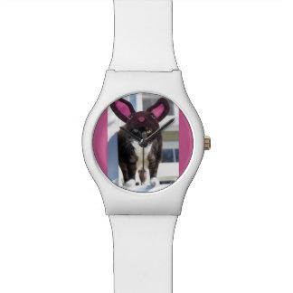 Kitty Cat Wearing Bunny Ears Wrist Watch