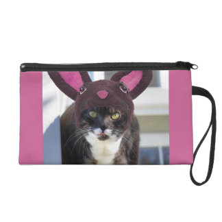 Kitty Cat Wearing Bunny Ears Wristlet Purse