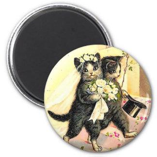 Kitty Cat Wedding 2 Inch Round Magnet