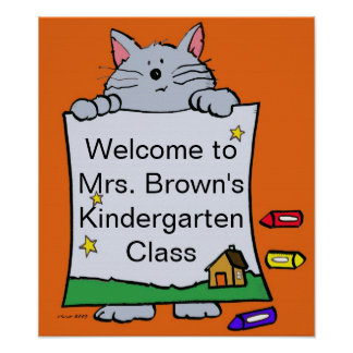 Kitty Cat Welcome Personalize by Vera Trembach Posters