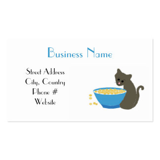 Kitty Cat with Blue Food Dish Business Card