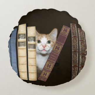 Kitty cat with books round pillow
