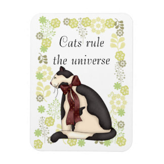 Kitty Cat with Flowers Picture Magnet