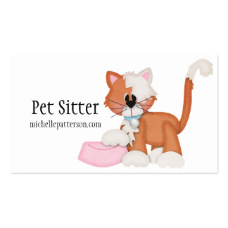 Kitty Cat with Food Dish Pet Sitter Business Cards