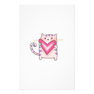 KITTY CAT WITH HEART STATIONERY PAPER