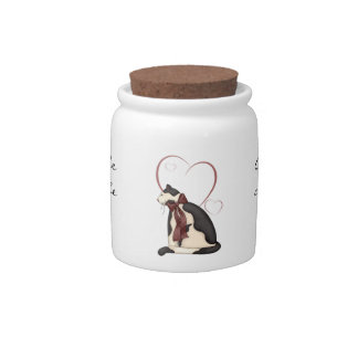 Kitty Cat with Hearts Picture Candy Jar