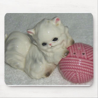 Kitty Cat with Pink Yarn Ball Mouse Pad