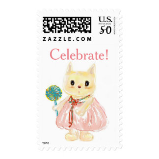 Kitty Cat With Pinwheel Birthday Party Postage