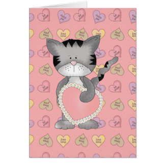 kitty cat with valentine heart greeting card