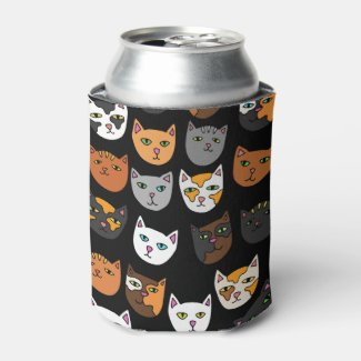 Kitty Cats everywhere pattern Can Cooler