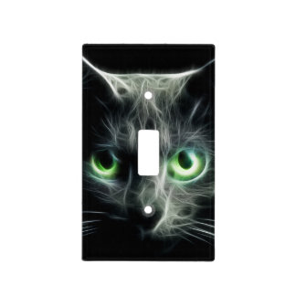 Kitty cats green glow eyes- light switch cover