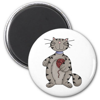 Kitty Cats · Grey Kitty & Wool 2 Inch Round Magnet