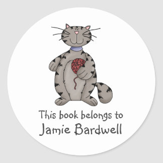 Kitty Cats · Grey Kitty & Wool Classic Round Sticker