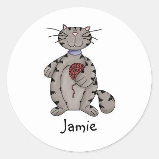 Kitty Cats · Grey Kitty & Wool Classic Round Sticker