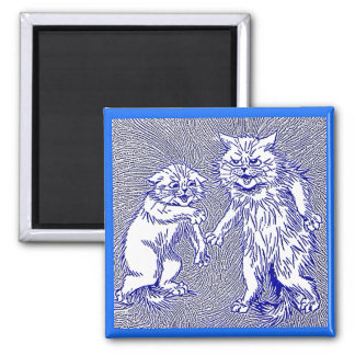 Kitty Cats in Blue by Louis Wain 2 Inch Square Magnet