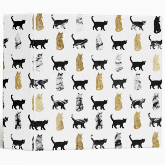 Kitty Cats in Gold and Black and White Marble 3 Ring Binder