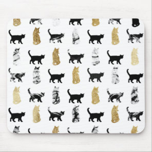 Kitty Cats in Gold and Black and White Marble Mouse Pad