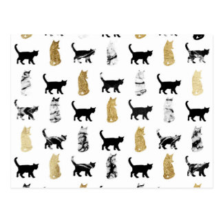 Kitty Cats in Gold and Black and White Marble Postcard