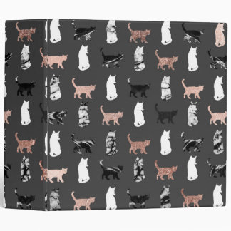 Kitty Cats in Rose Gold and Black and White Marble 3 Ring Binder