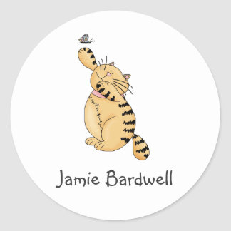 Kitty Cats · Kitty & Butterfly Classic Round Sticker