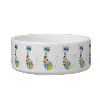 Kitty Cats Made of Flowers Cat Food Bowl