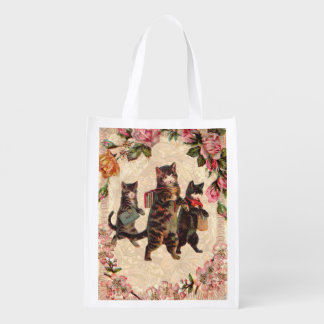 Kitty Cats Pretty Vintage Grocery Bag
