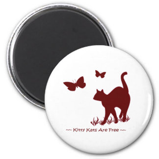 Kitty Cats R Free - Red / Maroon 2 Inch Round Magnet